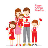 Familj som är lycklig med röda kuvert vektor illustrationer