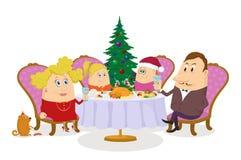 Familj som firar jul som isoleras Arkivbild