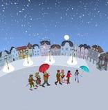 Familj som går i snö, hållande paraplyer Royaltyfri Foto
