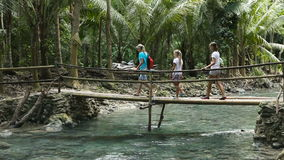 Familj som går på bron i bergskog stock video