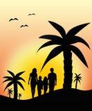 Familj som går på semester Arkivfoton
