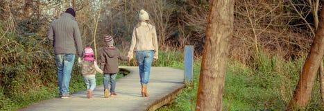 Familj som går rymma tillsammans händer i skogen arkivfoton