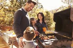 Familj som grillar på ett däck i skogen arkivfoto