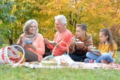 Familj som har en picknick i parkera arkivfoto