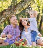 Familj som har en picknick i parkera Arkivbilder