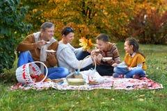 Familj som har en picknick i parkera Royaltyfri Foto