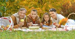 Familj som har en picknick i parkera Arkivbild