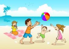 Familj som har en picknick på stranden stock illustrationer