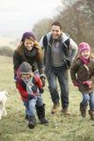 Familj som har gyckel i landet i vinter Arkivfoto