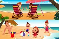 Familj som har gyckel på stranden stock illustrationer
