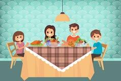 Familj som har mål tillsammans, tecknad filmstil vektor Fotografering för Bildbyråer