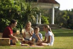 familj som har parkpicknicken Royaltyfria Bilder