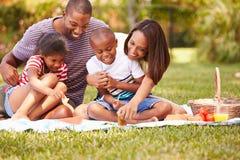 Familj som har picknicken i trädgård tillsammans Arkivbilder