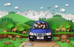 Familj som kör i bil stock illustrationer