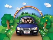 Familj som kör i bil royaltyfri illustrationer