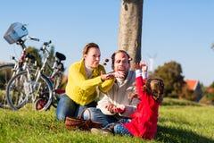 Familj som samlar kastanjer på cykeltur royaltyfria foton