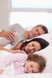 Familj som sovar på sängen Fotografering för Bildbyråer