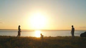 Familj som spelar frisbeen arkivfilmer
