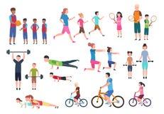Familj som spelar sportar Folkkondition som övar och joggar För livsstiltecknad film för sport aktiv vektor för tecken royaltyfri illustrationer