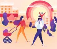 Familj som tillsammans går på stadsgatan på helg stock illustrationer