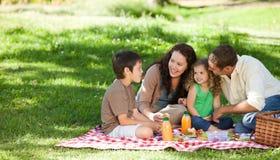 familj som tillsammans har picknick Arkivfoton