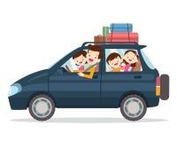 Familj som tillsammans reser på semestrar vektor illustrationer
