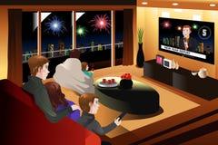 Familj som tillsammans spenderar Tid på helgdagsafton för nytt år royaltyfri illustrationer