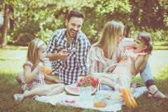 familj som tillsammans tycker om i picknick Familj i äng royaltyfria foton