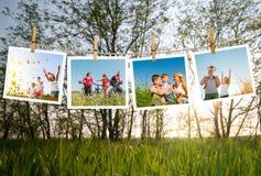 Familj som tillsammans tycker om livet Arkivbild