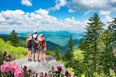 Familj som tillsammans tycker om tid på att fotvandra tur i bergen arkivbild