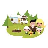 Familj som utomhus campar vektor illustrationer