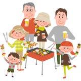 Familj som utomhus tycker om grillfesten stock illustrationer
