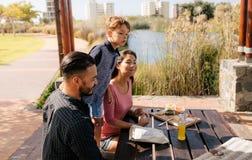 Familj ut för en picknick i en parkera royaltyfri bild