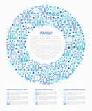 Familjbegrepp i cirkel med den tunna linjen symboler fotografering för bildbyråer