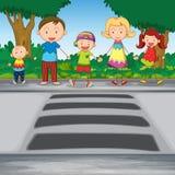 Familjcrossingväg Royaltyfri Fotografi