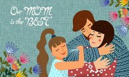 Familjdag E Horisontalvektor vektor illustrationer