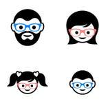 Familjemedlemframsidor stock illustrationer