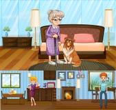 Familjemedlemmar i huset vektor illustrationer