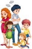 Familjemedlemmar i upprivna lynnen stock illustrationer