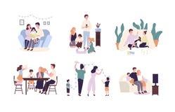 Familjemedlemmar som tillsammans spenderar tid hemma Moder, fader och barnläsebok och att dekorera huset, hållande ögonen på TV stock illustrationer