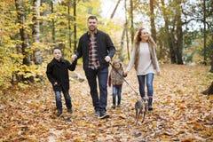 Familjen av fyra tyckande om guld- sidor i höst parkerar Arkivbilder