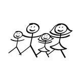Familjen av pinnen figurerar illustrationen Royaltyfri Fotografi