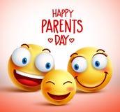 Familjen av smileyen vänder mot vektortecken för lycklig förälderdag stock illustrationer