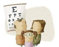 Familjen besöker ögonläkaredoktorn Arkivfoto