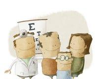 Familjen besöker ögonläkaredoktorn Stock Illustrationer