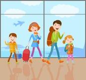 Familjen går på en tur stock illustrationer