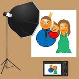 Familjen gör en bild i studion Royaltyfria Foton