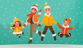 Familjen har gyckel i vinterferier Mamma, farsa, son och daug stock illustrationer