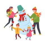 Familjen hugger snögubben Glad jul och lyckligt nytt år Xmas-affischen, baner, skrivev ut produkter, hälsningkort vektor vektor illustrationer