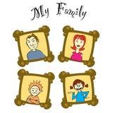 familjen inramniner mitt Arkivfoto